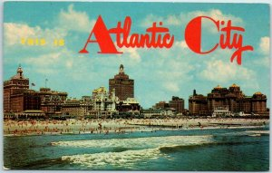 ATLANTIC CITY New Jersey Postcard w/ Beach & Skyline View c1950s Chrome Unused