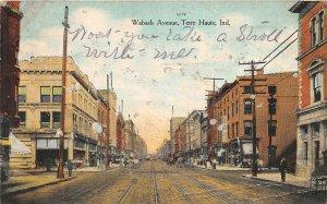 F73/ Terre Haute Indiana Postcard 1909 Wabash Avenue Stores