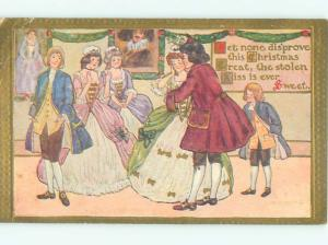 Pre-Linen Christmas PEOPLE DANCING AT A FANCY PARTY AB5386