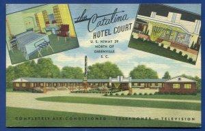 The Catalina Hotel Court Motel Greenville South Carolina sc linen postcard