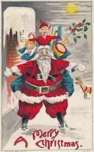 CHRISTMAS, 1900-10s ; Santa Claus & elf