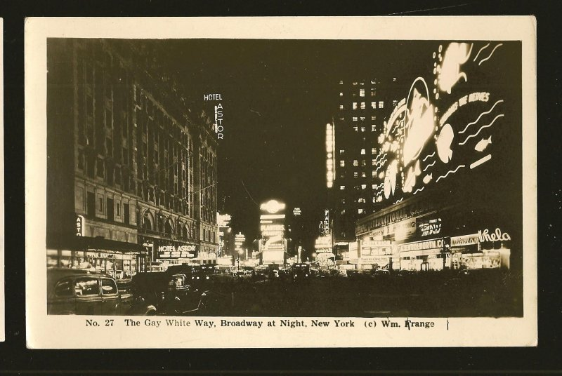 USA Gay White Way Broadway at Night New York 1930s Real Photo Postcard Unposted
