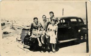 1944 Real Photo Postcard Young Latinos Dressed Up with Their Car Mexico Unposted