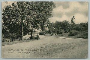 Wilmington Delaware~Entrance To Park~c1910 Postcard