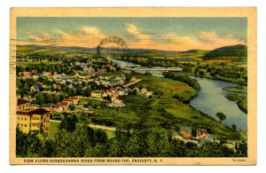 NY - Endicott. View Along Susquehanna River from Round Top