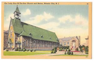 Atlantic City NJ Our Lady Star of the Sea Church Tichnor Vintage Linen Postcard