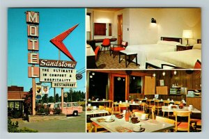 Seattle WA- Washington, Sandstone Motel, Split Photo Advertising Chrome Postcard