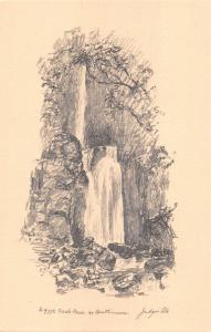 BUTTERMERE CUMBRIA UK~SCALE FORCE WATERFALL~JUDGES SKETCH POSTCARD