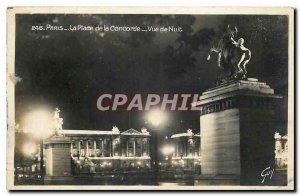 Old Postcard Paris Place de la Concorde Night View