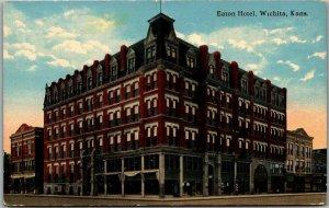 Wichita, Kansas Postcard EATON HOTEL Downtown Street View - H.R. Schmidt c1910s