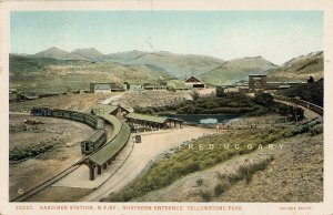 C-1924 Northern Pacific Railway PC: Gardiner Depot Train, Yellowstone Entrance