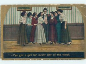 Pre-Linen art nouveau LUCKY GUY HAS A NEW GIRL FOR EVERY DAY OF THE WEEK HL4341