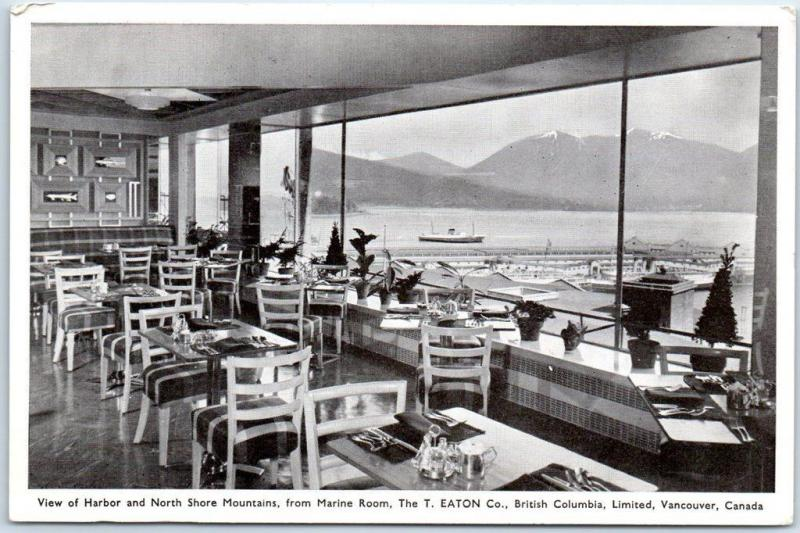 Vancouver BC Canada Postcard T. EATON CO. Dept. Store Marine Room Restaurant
