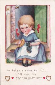 Valentine's Day Young Girl Polishing Shoes I've Taken A Shine To You 1924 Whi...