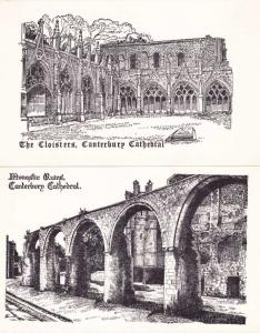 (2 cards) Canterbury Cathedral - Kent, England - Cloisters and Monastic Ruins