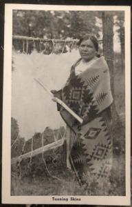 Mint USA Real Picture Postcard RPPC Native American Indian Tanning Skins