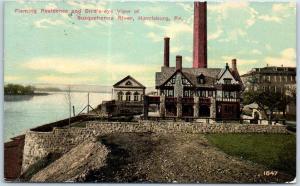 Harrisburg, Pennsylvania Postcard Fleming Residence House Susquehanna River 1917