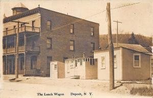 Deposit NY The Lunch Wagon Early Diner Street View Real Photo Postcard