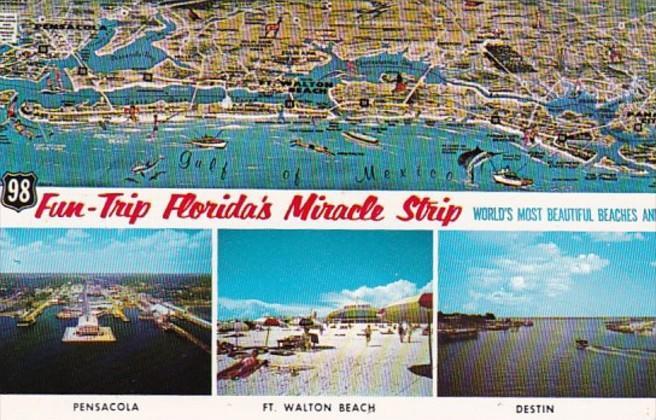 Map Florida Pensacola.Florida Pensacola Map Of Florida S Miracle Strip Hippostcard