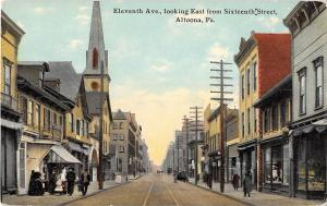 Altoona Pennsylvania Eleventh Avenue Looking East Antique Postcard (J12510)