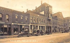 Calais ME Storefronts Old Cars Very Clear Image RPPC