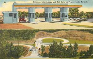 Linen View of Entrance & Toll Gate Pennsylvania Turnpike PA