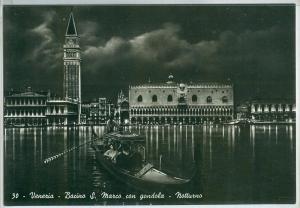 Italy, Venice, Venezia, Bacino S. Marco con gondola notturno