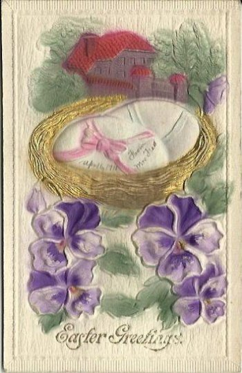 Heavily Embossed Novelty Airbrushed Card Quaint Cottage Easter Egg Pansies 1911