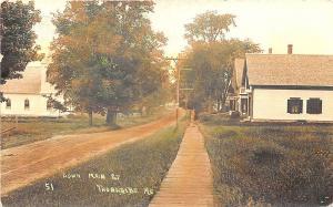 Thorndike ME Dirt Main Street Wooden Sidewalk 1910 Tinted RPPC Postcard