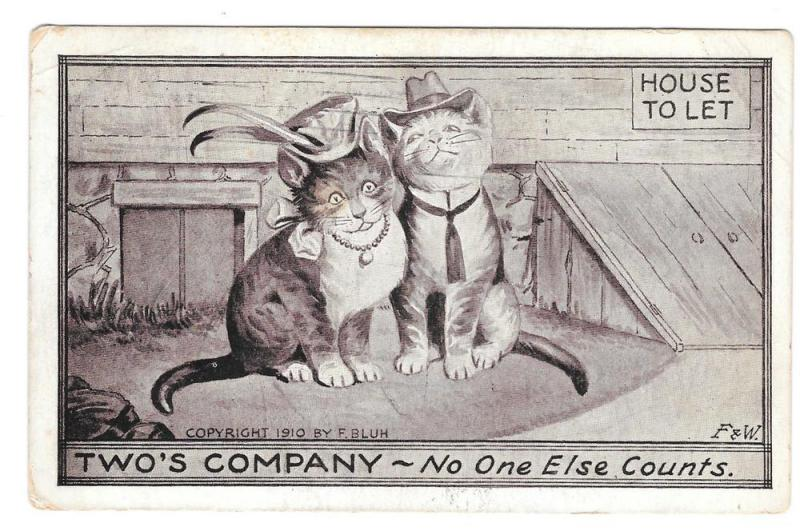 Dressed Cats Two's Company No One Else Counts Blum Postcard