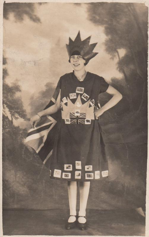Girl In Union Jack Dress Made Of Flags & Cards Antique Theatre Real Photo Pos...