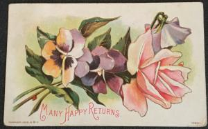 "Postcard Used ""Many Happy Returns"" embossed Flowers LB"