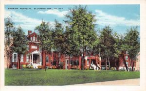 Bloomington Illinois~Brokaw Hospital~Flowers in Front~1920s Postcard