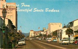 Autos Flags 1950s Santa Barbara California State Street Exclusive Shops 9102