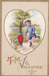 Valentine's Day Young Boy Running With Heart 1914