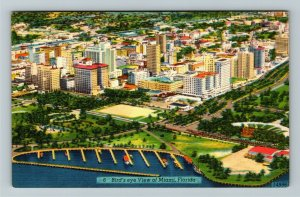 Miami FL-Florida, Aerial View Of Miami, Hotels,Boats,Ocean,Canal, Linen Postcard