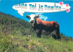 Cow mountain meadow blue sky postcard