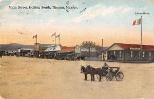 Tijuana Mexico Main Street Scene Historic Bldgs Antique Postcard K29555