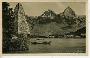 RPPC BRUNNEN UND MYTHEN SWITZERLAND LAKE REAL PHOTO POSTCARD