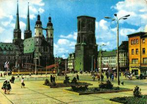 Halle Saale Markt Kirche Church Tower Tram Postcard