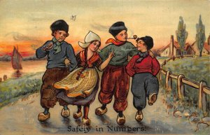 Netherlands Safety in Numbers Children Traditional Costumes Postcard