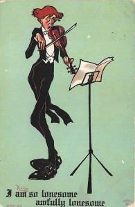 R. Lillo Signed I Am Lonesome Violin Musical instrument Comical Postcard