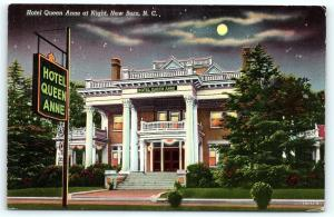 Postcard NC New Bern Hotel Queen Anne at Night