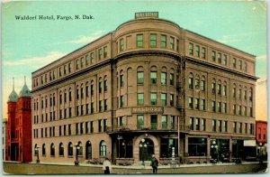 Fargo, North Dakota Postcard WALDORF HOTEL Building / Street View 1911 Cancel