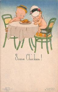 Rose O' Neill Kewpie Some Chicken! Postcard