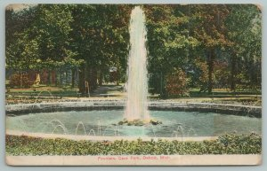Detroit Michigan~Fountain In Cass Park~Vintage Postcard
