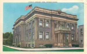 Erie Pennsylvania~Public Library~1940s Linen Postcard