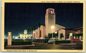 1946 Los Angeles California Postcard Union Station at Night Street View Linen