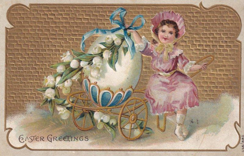 EASTER, PU-1910; Easter Greetings, Little Girl Holding A Huge Egg