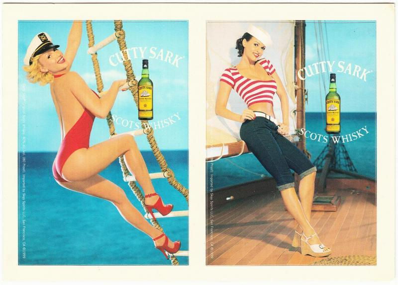 Advertising Postcard for Cutty Sark Whiskey with Pinup Decals 1999 #1